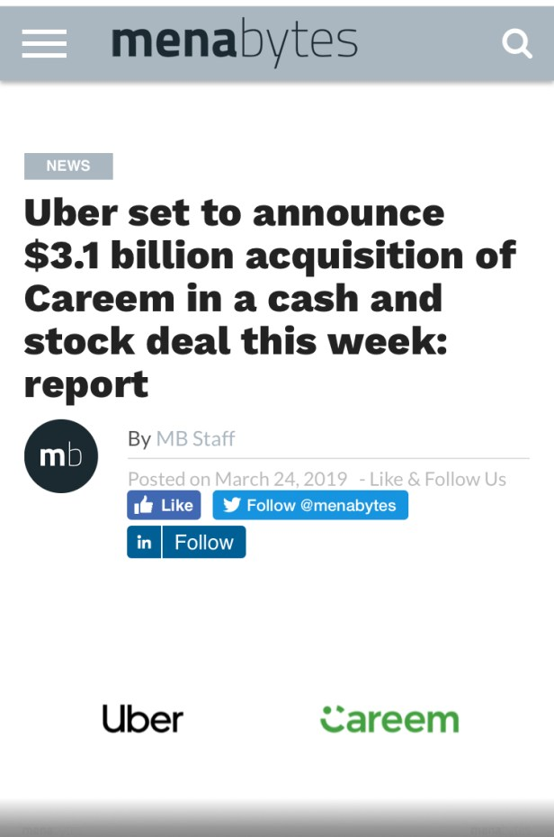 uber Careem acquisition mena bytes dubai uae