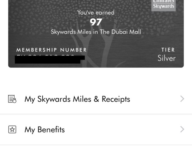dubai mall emirates skywards miles account link app uae