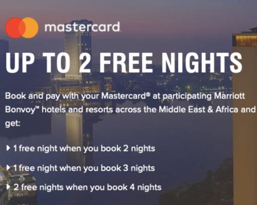marriott free nights offer bonvoy mastercard middle east africa hotels uae dubai