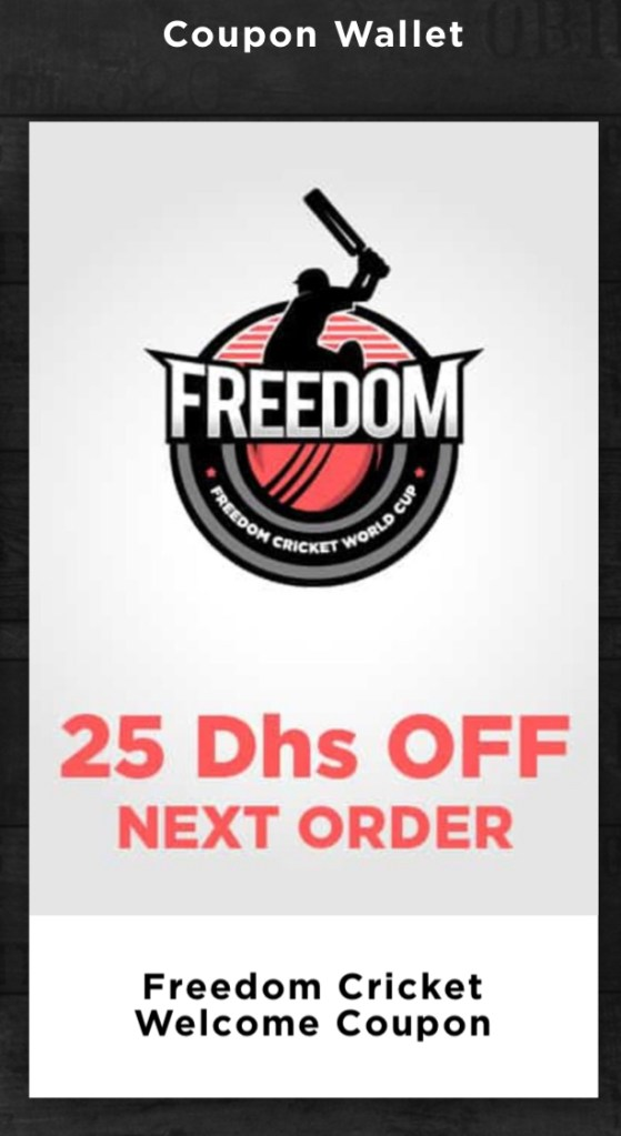 freedom pizza welcome coupon aed 25 cricket world cup dubai abu dhabi sharjah uae 2019