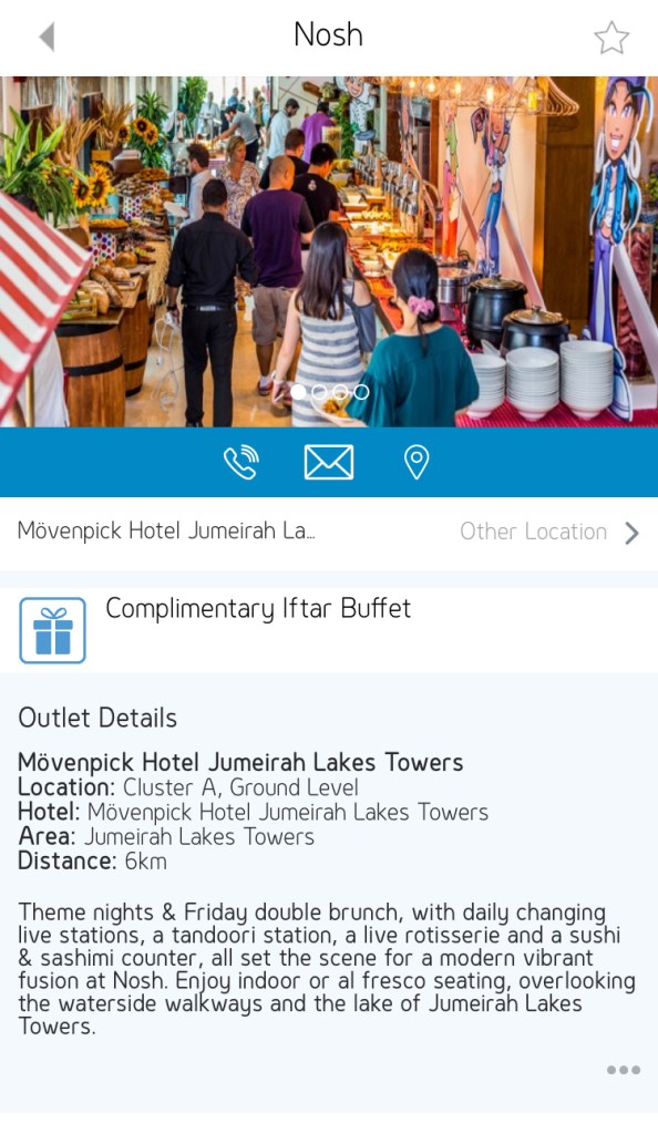 gems rewards app free iftar buffet nosh movenpick jlt Dubai UAE
