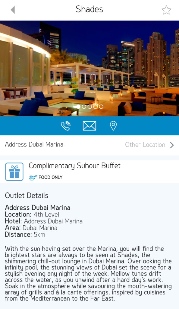 shades suhoor buffet address Dubai Marina UAE