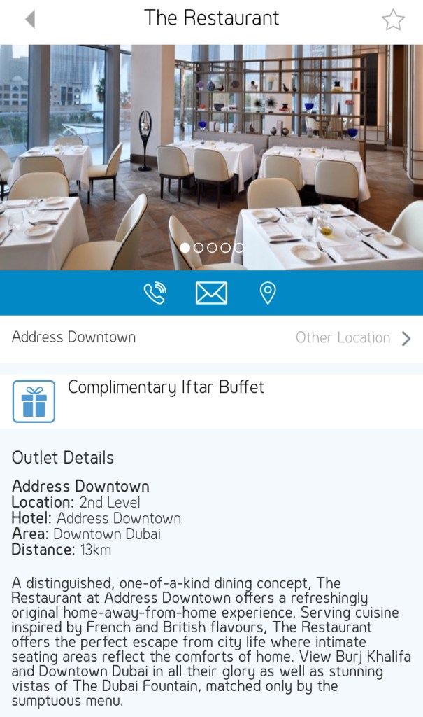 gems rewards app free iftar buffet the restaurant address downtown Dubai UAE