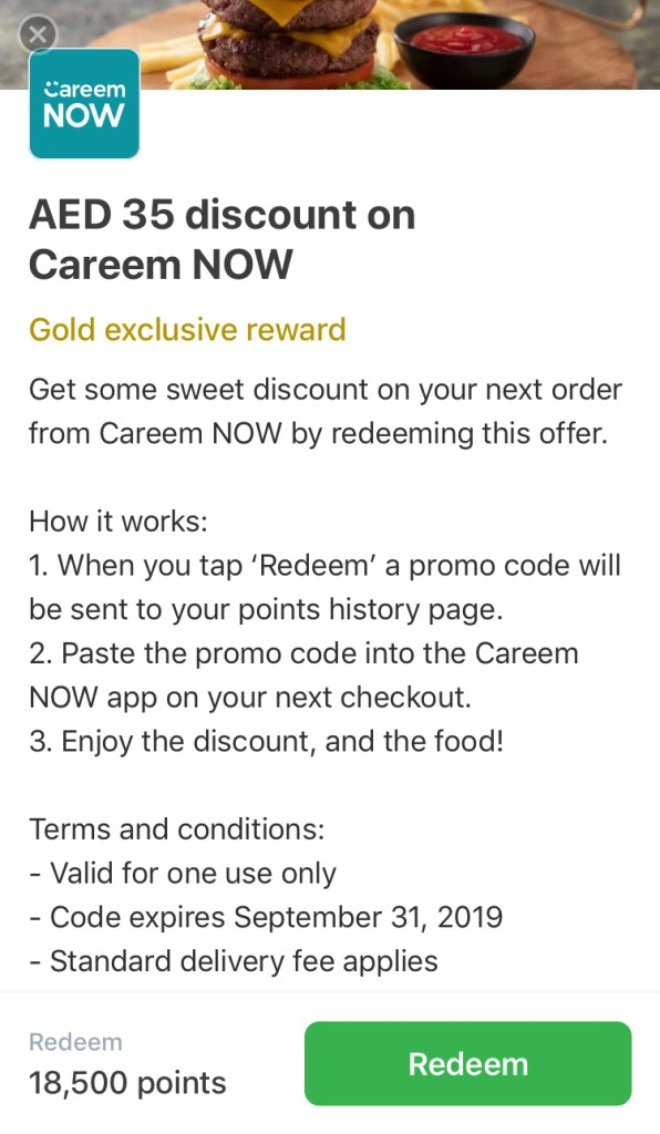 careem rewards for careemnow now gold exclusive food order app loyalty 18,500 points redeem aed 35 dubai abu dhabi sharjah ajman uae