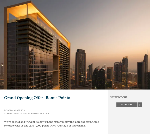promotion bonus offer grand opening hilton honors points uae