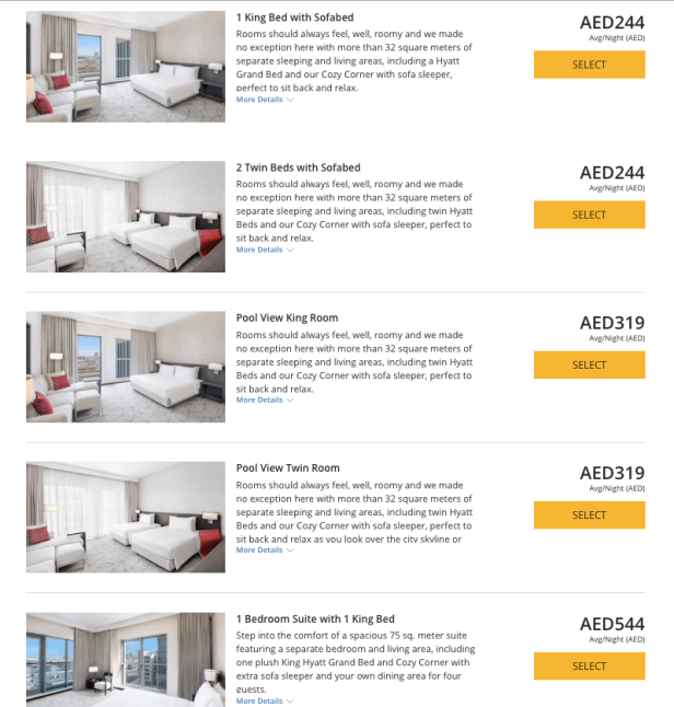 hyatt place dubai jumeirah room rates points king bed twin bed sofabed suite pool view uae thepointshabibi