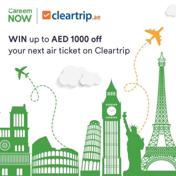 careemnow cleartrip promotion careem now air ticket flight aed 1000 off dubai uae november 2019