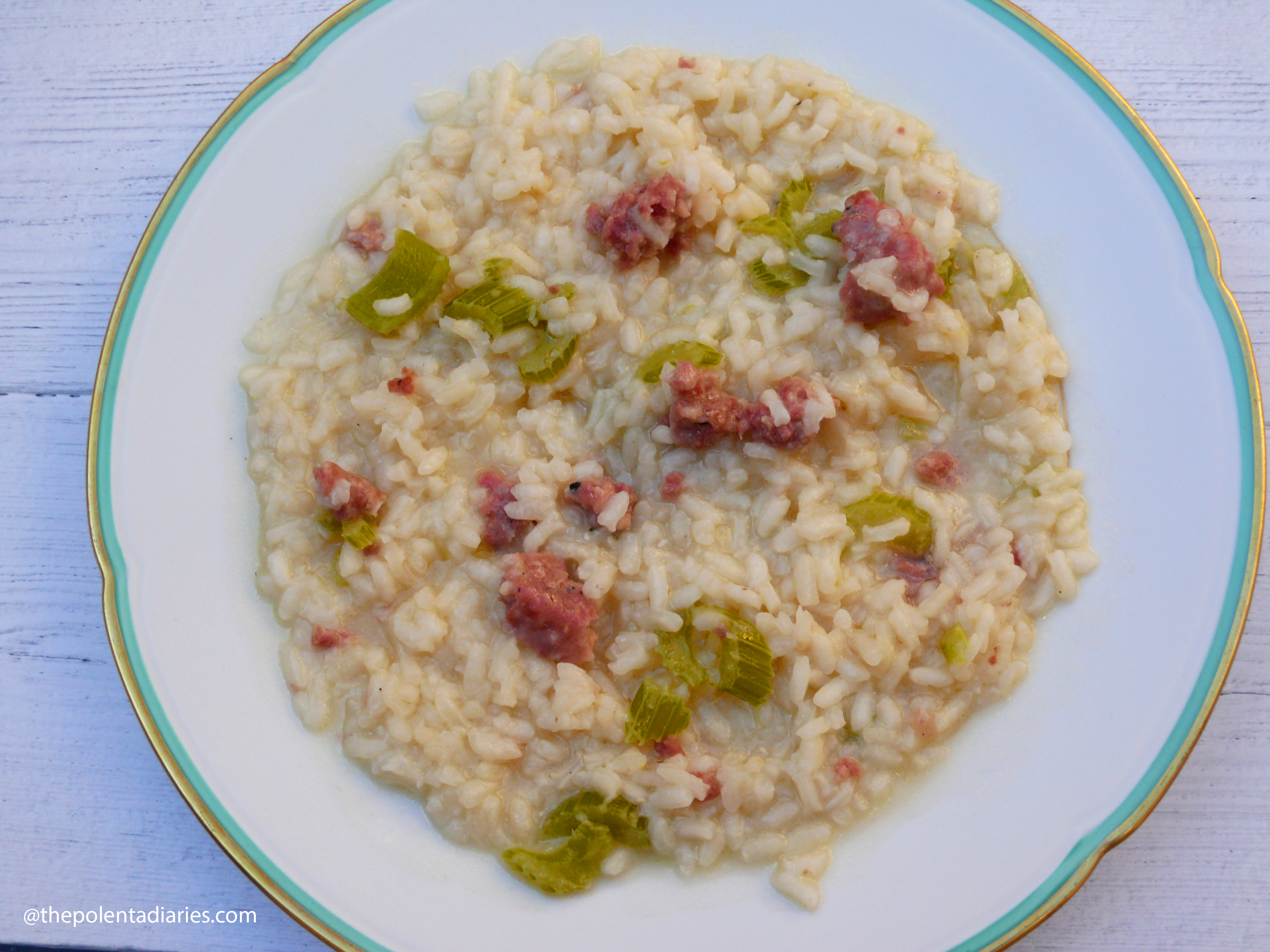 Risotto with celery and Italian sausage