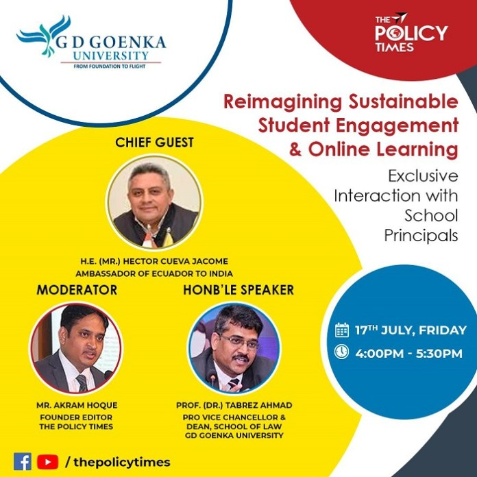 Ambassador Lecture on Reimagining Sustainable Engagement and Online Learning with School Principals. The policy times