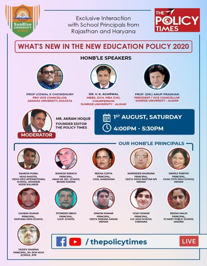 School Principals Shared Views on New Education Policy 2020 on the Policy Times Webinar. The policy times