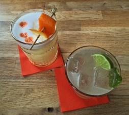 Whiskey Sour & Lime Leaf Gimlet