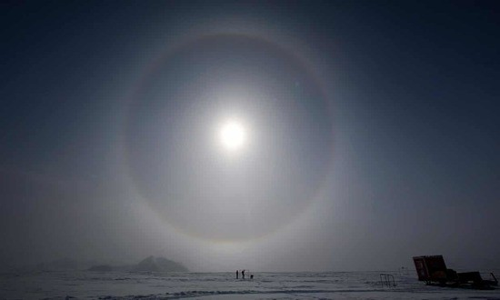 Scientists measuring solar radiation in Antarctica in October 2015, when the ozone hole reached a record size due to increased volcanic activity.