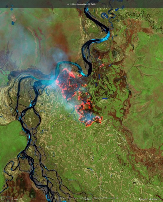 Wildfires sweep across the Arctic circle; seventy percent of soil carbon could be lost by 2100.