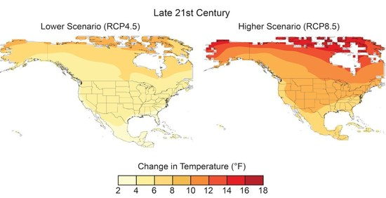 Projected changes in annual average temperatures (2070-2099) with strong climate policies (left) and with President Trump's current climate Policies.