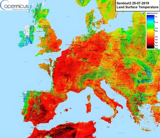 European land surface temperatures Thursday as sensed via satellite. The heatwave will be moving north into the Arctic.