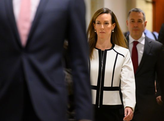Jennifer Williams, an aide to US Vice President Mike Pence, arrives for a deposition as part of the House Impeachment inquiries on Capitol Hill in Washington, DC, November 7, 2019. (Photo by ANDREW CABALLERO-REYNOLDS / AFP) (Photo by ANDREW CABALLERO-REYNOLDS/AFP via Getty Images)