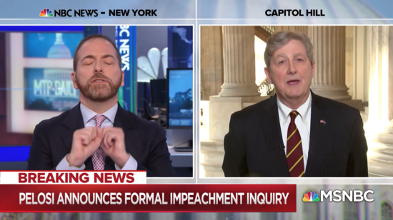 MSNBC host Chuck Todd attempts to get a word in while Louisiana Sen. John Kennedy peddles falsehoods.