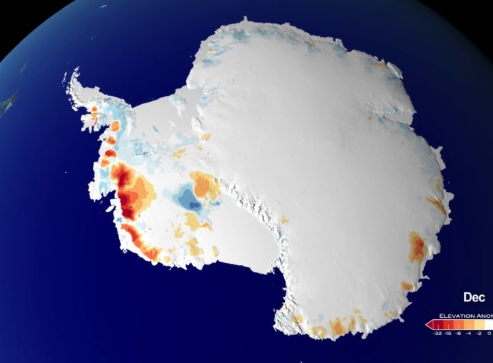 25 Years of Antarctic Land Ice Elevation Change Anomalies (West Coast Fly Over)