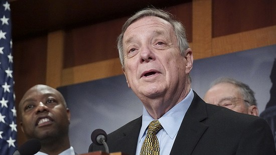 Senator Dick Durbin (D-IL) speaks at a press conference on December 19, 2018, after the passage of a bipartisan criminal justice reform bill.