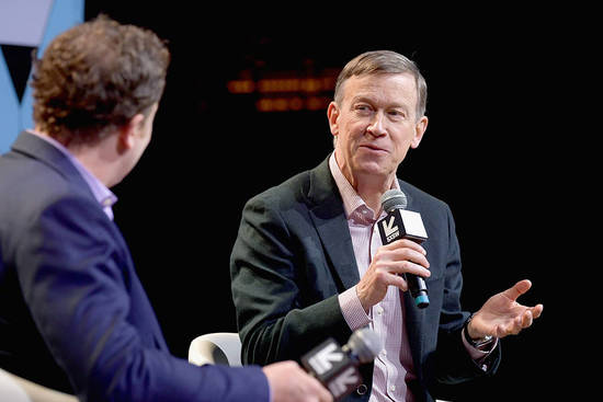 AUSTIN, TX - MARCH 10:  Ben Smith (L) and John Hickenlooper speak onstage at Conversations About America's Future: Former Governor John Hickenlooper during the 2019 SXSW Conference and Festivals at Austin City Limits Live at the Moody Theater on March 10, 2019 in Austin, Texas.  (Photo by Danny Matson/Getty Images for SXSW)