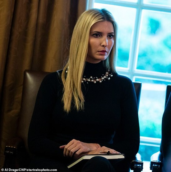 Back to work: Ivanka, 37, attended a Cabinet meeting with Congressional leaders at the White House on Wednesday, the 12th day of the partial government shutdown