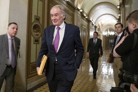 WASHINGTON, DC - JANUARY 29: Sen. Ed Markey (D-MA) leaves the U.S. Capitol after the Senate impeachment trial of President Donald Trump was adjourned for the day on January 29, 2020 in Washington, DC. Today the trial entered the phase where senators had the opportunity to submit written questions to the House managers and President Trump's defense team. (Photo by Samuel Corum/Getty Images)