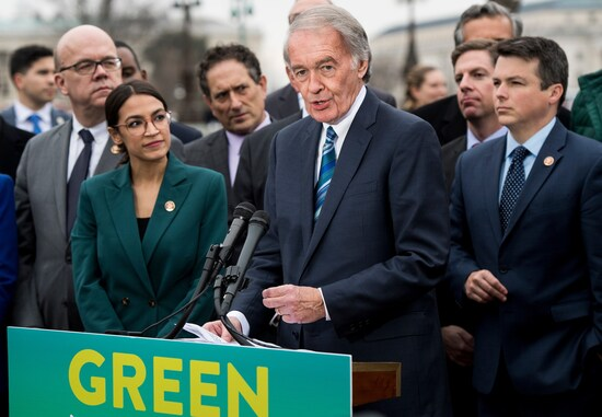 UNITED STATES - FEBRUARY 7: Sen. Ed Markey, D-Mass., and Rep. Alexandria Ocasio-Cortez, D-N.Y., hold a press conference on the Green New Deal Resolution outside of the Capitol on Thursday, Feb. 7, 2019. (Photo By Bill Clark/CQ Roll Call)