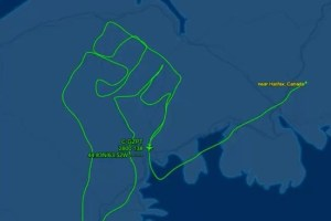 """A pilot showed his support for George Floyd and the Black Lives Matter movement by """"drawing"""" a raised fist in the sky. Dimitri Neonakis from Canada designed a flight path that would chart the outline of a fist over Halifax. Taking nearly two and a half hours on Thursday 4 June, the aerial tribute covered 330 nautical miles. Tracking site Flight Aware shared a speeded-up video of the flight path last week, tweeting: """"HAPPENING NOW In the skies over Halifax, Canada."""" Neonakis shared the flight path on his Facebook page, dedicating it """"For George"""" and also sharing a picture of George Floyd alongside images of his journey."""