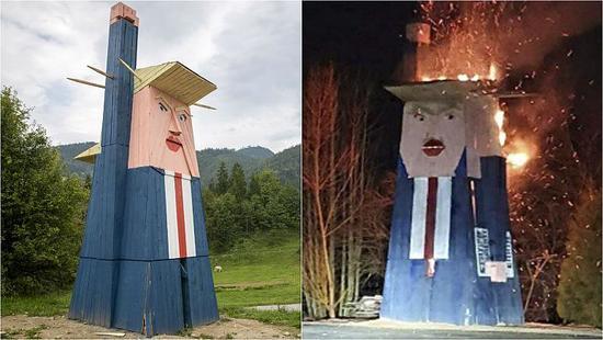 Trump statue in Slovenia burned