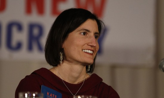 Kate Schroder, democratic candidate for Ohio's first congressional district, speaks during a question and answer session held by the Bold New Democracy Work Group, Tuesday, Feb. 18, 2020, in Cincinnati. (AP Photo/Gary Landers)