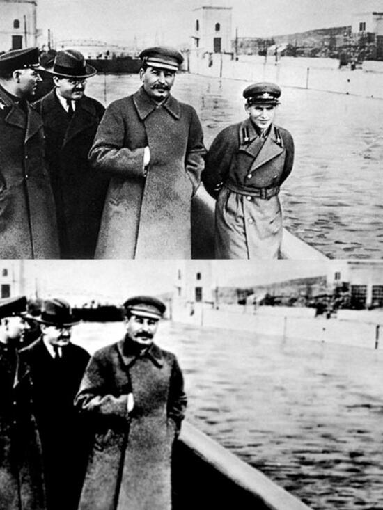 Soviet photo editing with Stalin