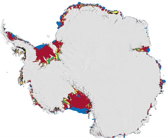 Areas of Antarctic ice shelves buttressing glaciers vulnerable to hydrofracturing are shown in red. Blue areas adjoining the ocean are vulnerable too, but those portions do not help hold back glaciers. Smaller green and yellow areas closer to land are less vulnerable.