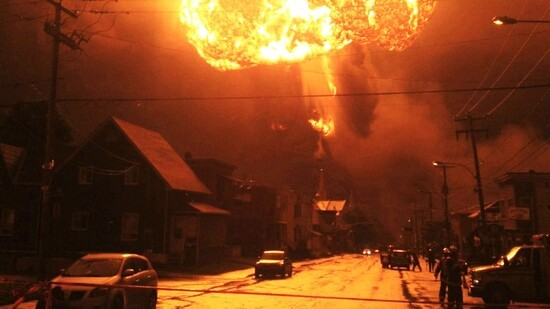 A runaway train carrying North Dakota crude oil derailed and exploded in the center of Lac-Megantic, Quebec, killing 47 people in July 2013, highlighting a dangerous trend in North America.