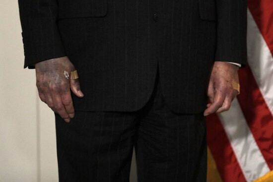 Hands of U.S. Senate Majority Leader Mitch McConnell are seen as he talks to the media after the Republican policy luncheon on Capitol Hill in Washington on October 20, 2020. Photo by Yuri Gripas/Abaca/Sipa USA(Sipa via AP Images)