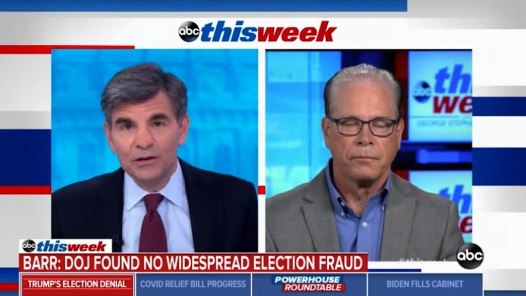 George Stephanopoulos embarrasses Republican Senator spinning another voter fraud lie with reality.