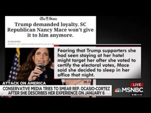 Turns out the liar is Rep. Nancy Mace (R-SC) She implied AOC lied about her insurrection account