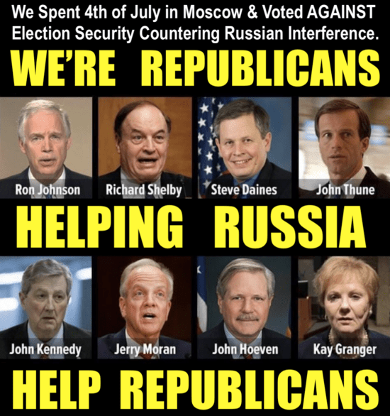 Treason caucus: Meme: We're Republicans helping Russia help Republicans. Images of eight Republicans who visited Moscow on the Fourth of July, early in the Trump presidency.'