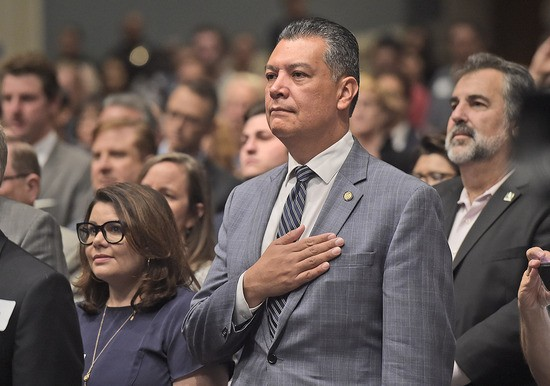 California Secretary of State, Hon. Alex Padilla stands for the National Anthem during the Community Swearing-in Ceremony for Assemblymember Jesse Gabriel held at Reseda Charter High School in Reseda on Sunday, September 16, 2018.  (Photo by Dan Watson, contributing photographer)