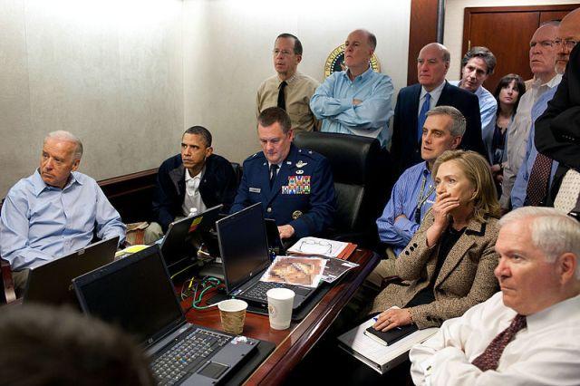 President Barack Obama, Vice President Joe Biden, Secretary of State Hillary Clinton, Defense Secretary Robert Gates and other White House officials await news on the mission to kill Osama Bin Laden on May 1, 2011.