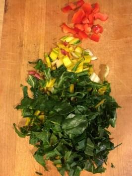 Chop rainbow chard stem and leaves