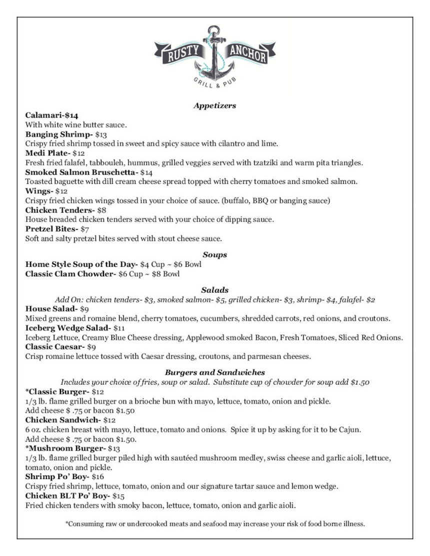 Rusty Anchor, dinner menu, page 1