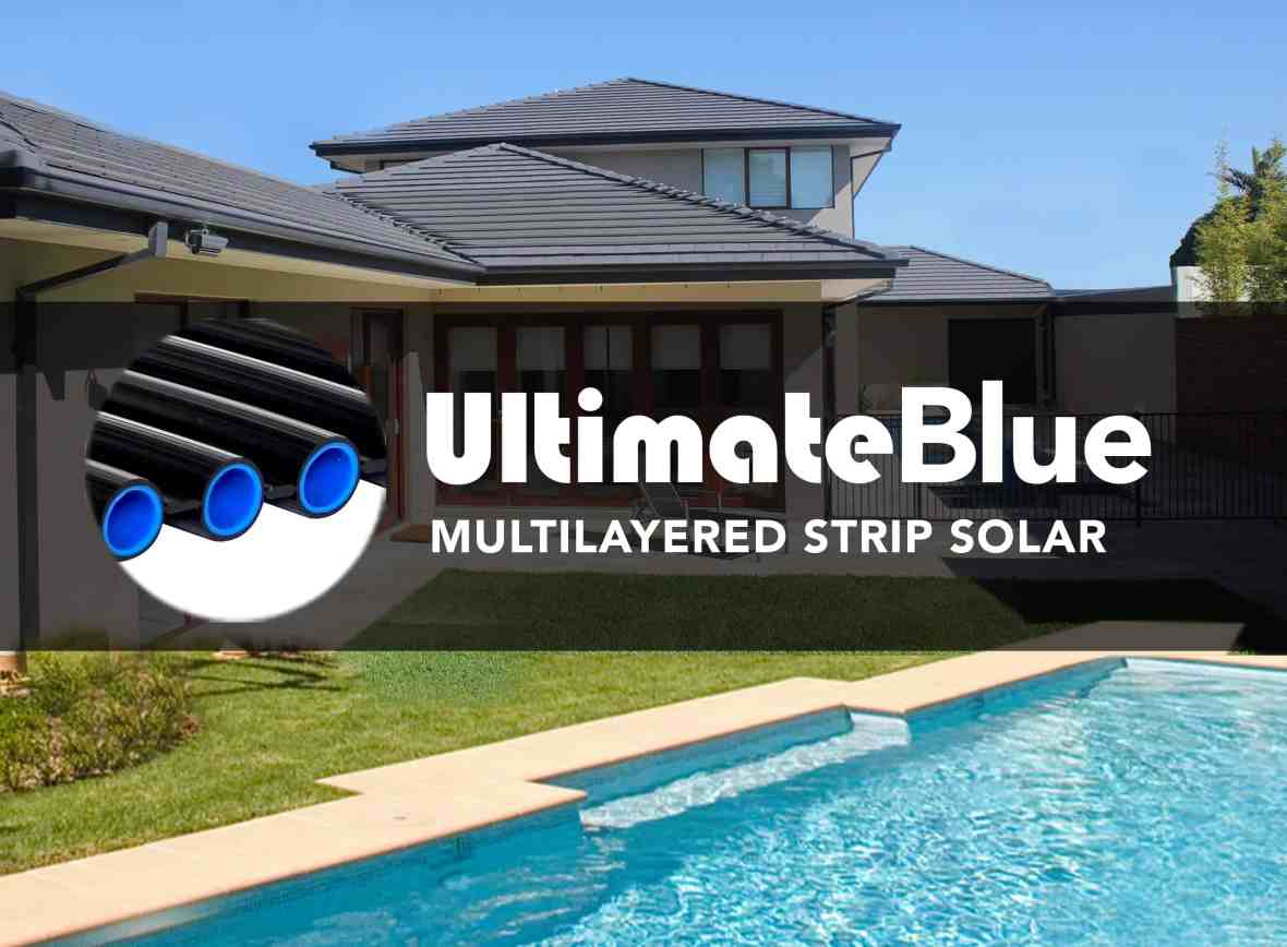 Boss Solar Pool Heating System on a roof with heated swimming pool in Australia
