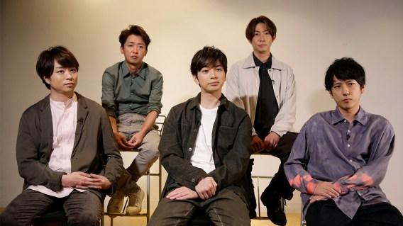 Arashi members back row from left: Satoshi Ohno, Masaki Aiba. Front row from left: Sho Sakurai, Jun Matsumoto, and Kazunari Ninomiya. Photo by Hiro Komae, taken at the Japanese Associated Press for Arashi., September 2020