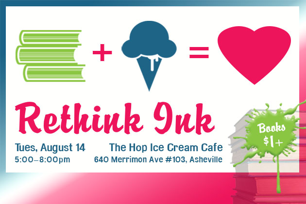 Rethink Ink book sale fundraiser 2018 at the Hop
