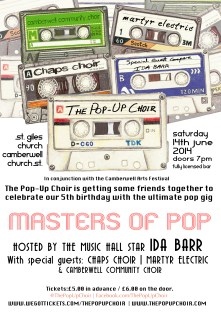 June - Our Masters of Pop flyers! Our 5th birthday gig was also the opening event of the 2014 Camberwell Arts Festival