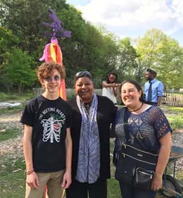 Tait Rosbottom (MJHS Garden Club president), Stephanie Johnson (principal of MJHS), and Gabriela Garcia (executive director of GPCP). Photos by Natalie Rosbottom.