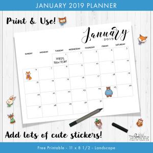 January Planner Calendar for 2019