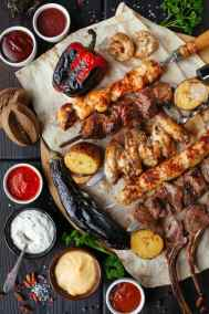Grilled meats and veg