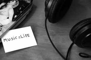 black and white music headphones life