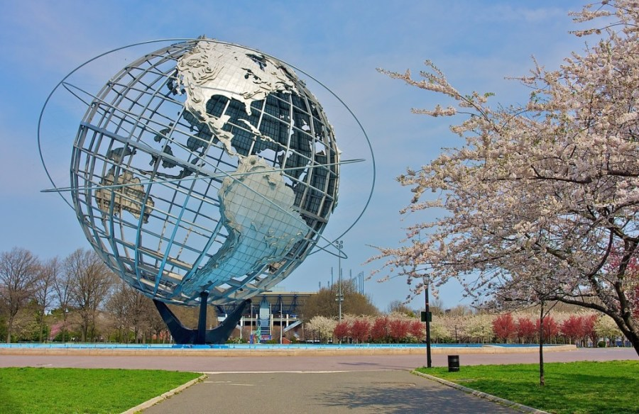 The Unisphere is 140 feet high and 120 feet in diameter. It weighs 900,000 pounds and was built for the 1964-1965 World's Fair. While I was taking this photo I met a man who had worked both in iron and concrete on this and the NY State Theatre back in 1964. 72 years of age, he was coming back from golf practice.  He thought I was in great shape and retired. Ha!